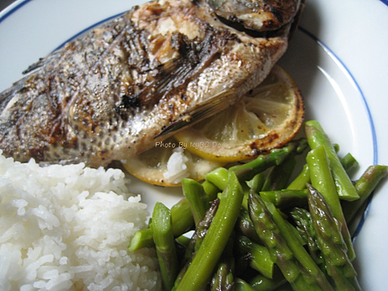 Grilled whole talapia fish and asparagus beyond wandering for Fish and asparagus