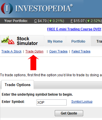 Options virtual trading game