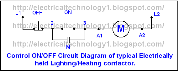 Diagrame of Simple Contactor circuit typical onoff control circuit for an electrically held lightingheating contactor. electricaltechnology1.blogspot.com_. star delta 3 phase motor automatic starter with timer electrical star delta timer wiring diagram at crackthecode.co