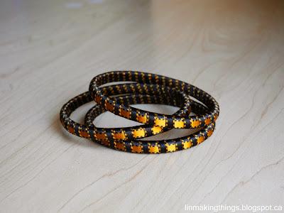 linmakingthings, ribbon, woven ribbon, ribbon wrapped, DIY, jewelry, accessory