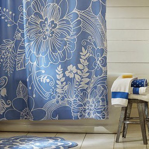 beautiful shower curtain design with blue flowers
