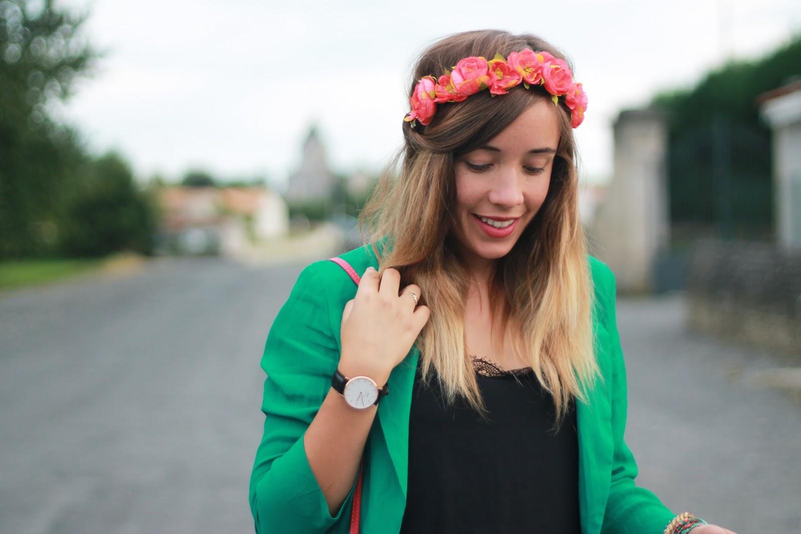 accessoire cheveux couronne de fleurs