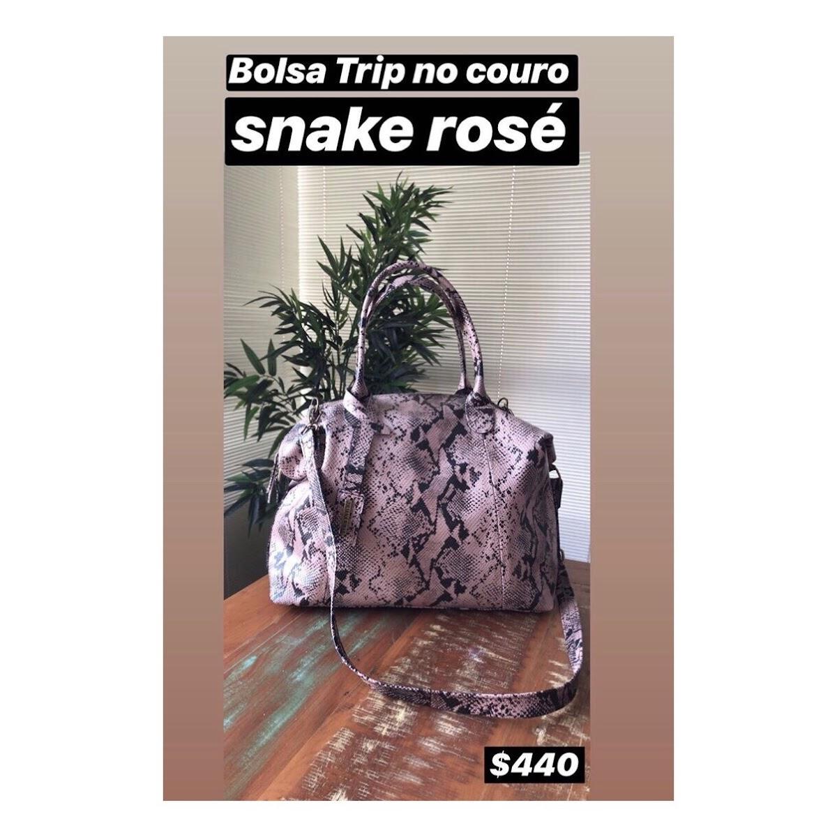 BOLSA TRIP NO COURO SNAKE ROSÉ
