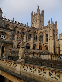 Bath Abbey from the Roman Baths at the beginning of the Cotswold Way