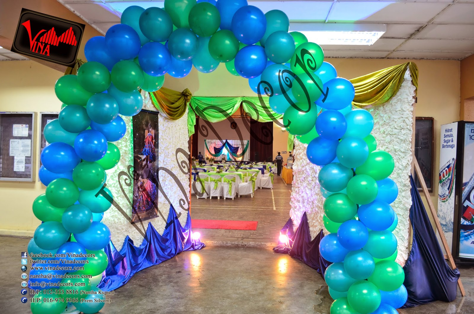 Dancing Peacock Concept / Theme, 21st Birthday at Dewan Dato Ahmad Razali, Kampung Melayu Ampang, 43100 Ampang, Selangor, Malaysia (Ampang Hall) for B. Rajeshwary  (Setup for Balloon Arch, Flower pillar, Red Carpet, Stage Scallop and Backdrop with lighting, Photography Section with Balloon Dome, Table Centerpiece, chair (cover & ribbon) and Table (cloth).