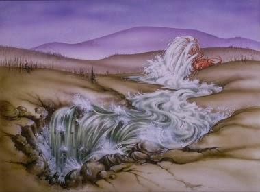 A terra ajuda a mulher do que saía da boca do grande dragão