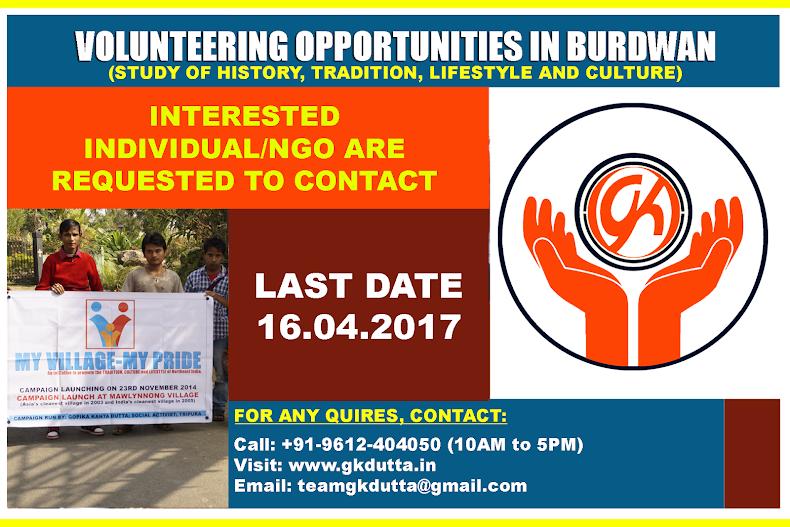 VOLUNTEERING OPPORTUNITIES IN BURDWAN