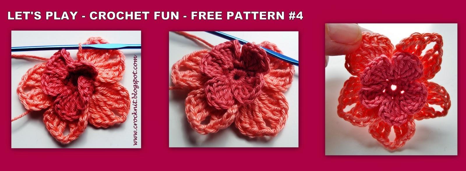 free crochet patterns five petal flowers