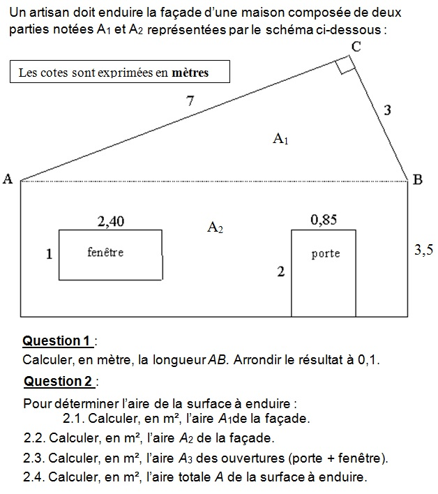 Calcule de l aire d un rectangle for Calcul surface toiture 4 pentes