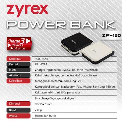 Zyrex Powerbank ZP 190, Charge 3 Perangkat Sekaligus