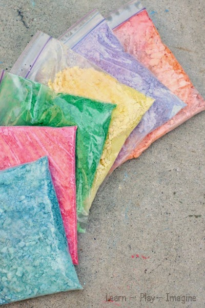 Making crushed chalk for art and play - Genius ways to use up broken chalk pieces!