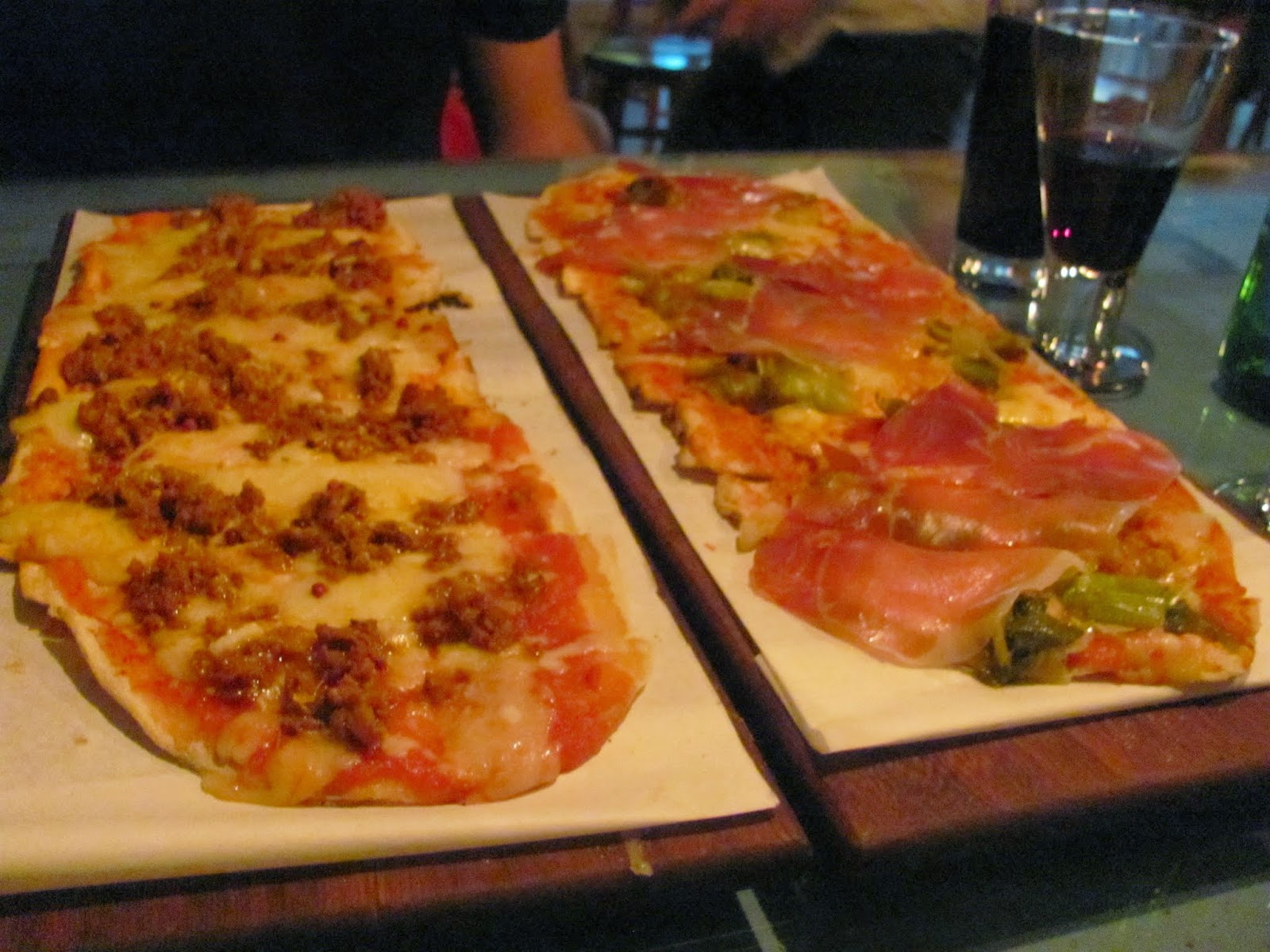 Chorizo with Pink Peppercorn and Serrano Ham and Leek Pizzas from Skinflint Dublin, Ireland