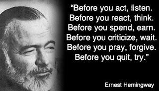 Kata Kata Bijak Ernest Hemingway dalam bahasa inggris dan Artinya yang Terbaik