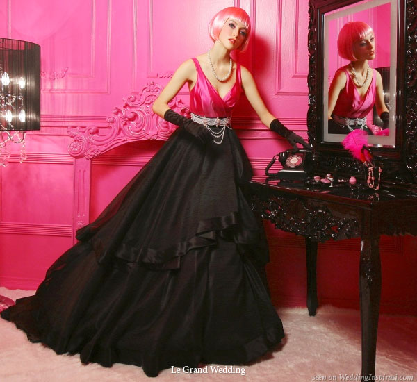 Black and Pink Wedding Bridal Gown