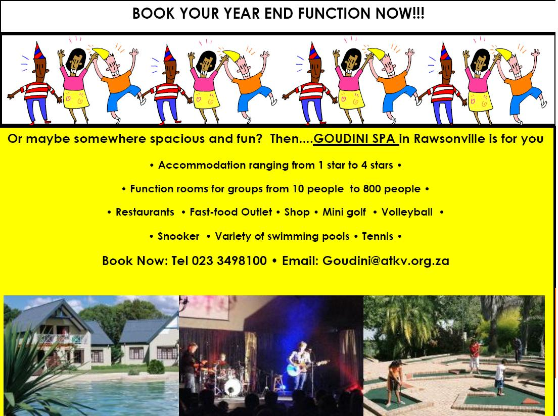 Inspirational marketing goudini spa book your year end function now