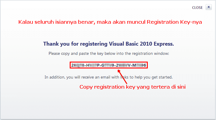 obtain registration key for visual c++ 2010 express