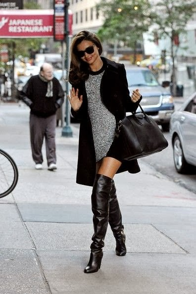 Sparkal Dress With Black Long Coat And Over Knees Leather Boot
