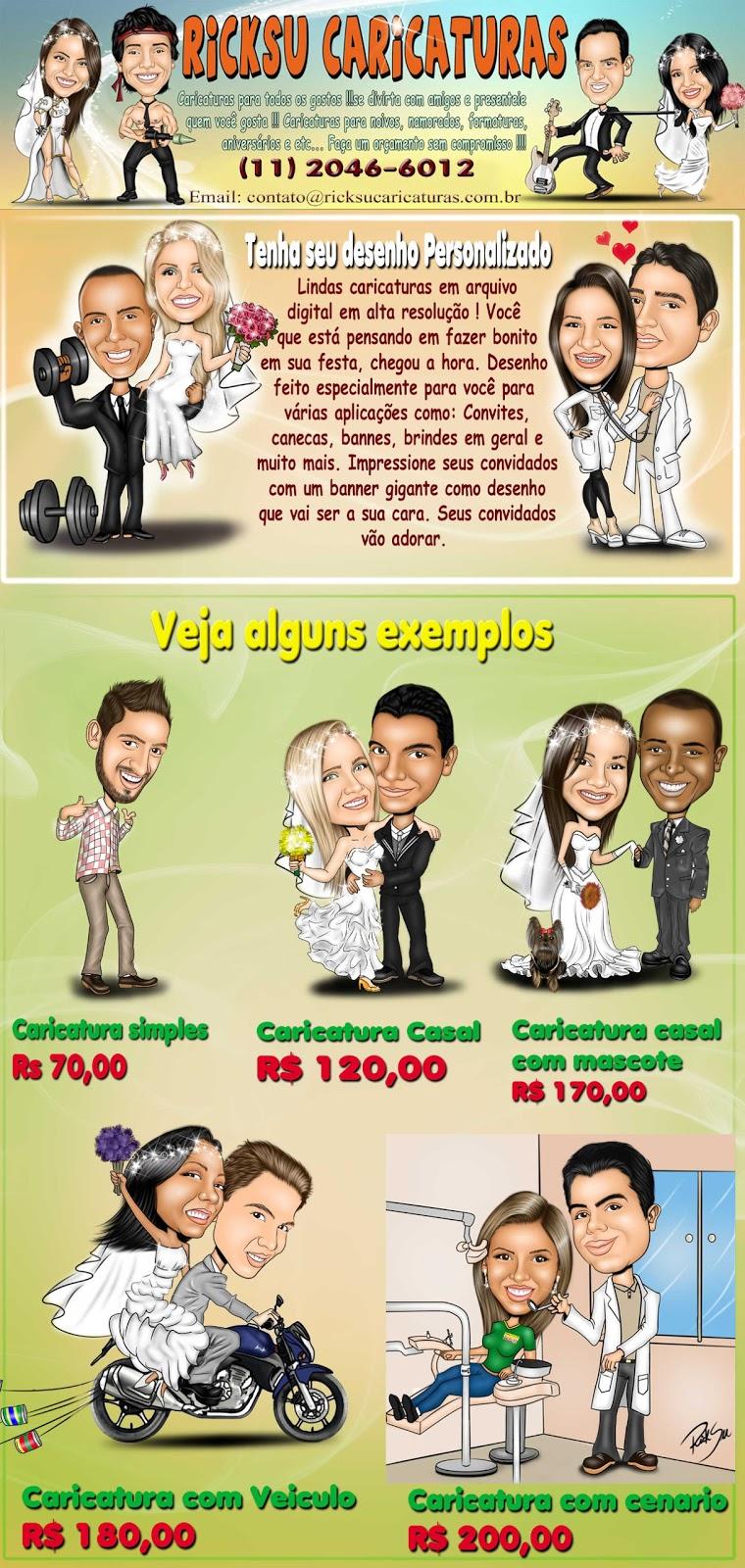 caricaturas coloridas apartir de 70,00 reais