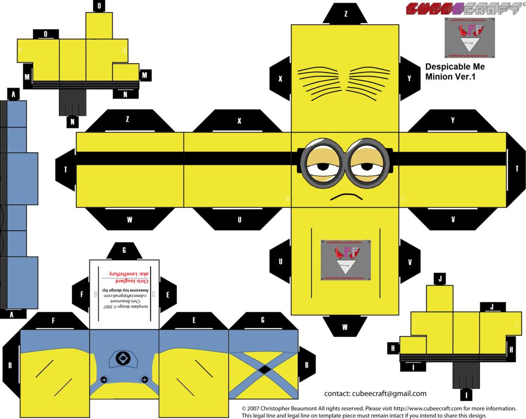 Minion papercraft despicable me for Immagini da colorare minions