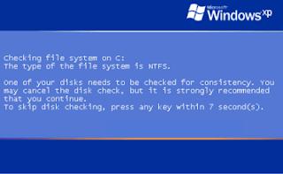 Cara Mengatasi chkdisck Windows Xp