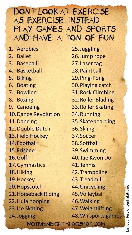 MotiveWeight: 48 Fun Ways To Exercise