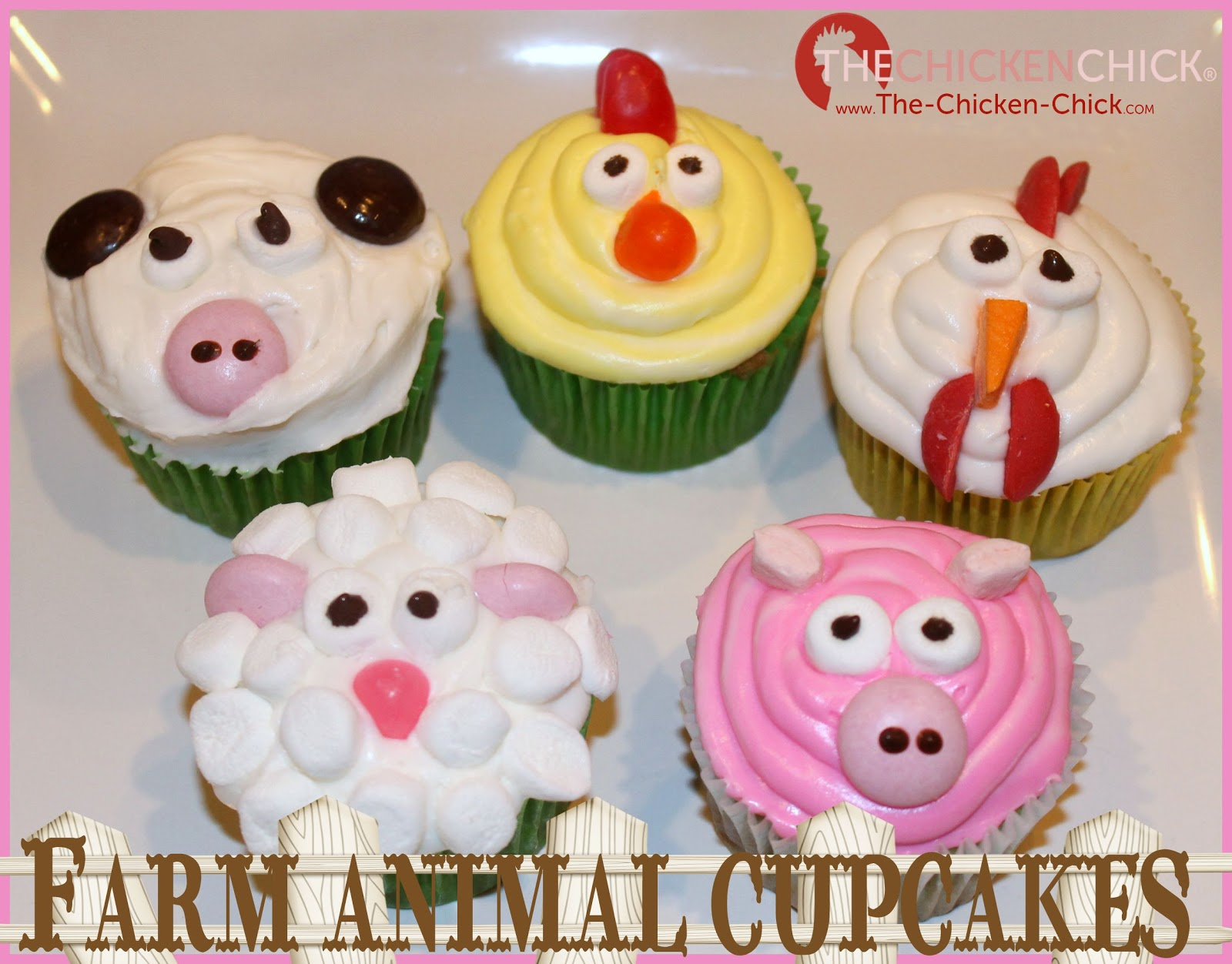 Farm animal cupcakes chicken chick rooster cow lamb and pig