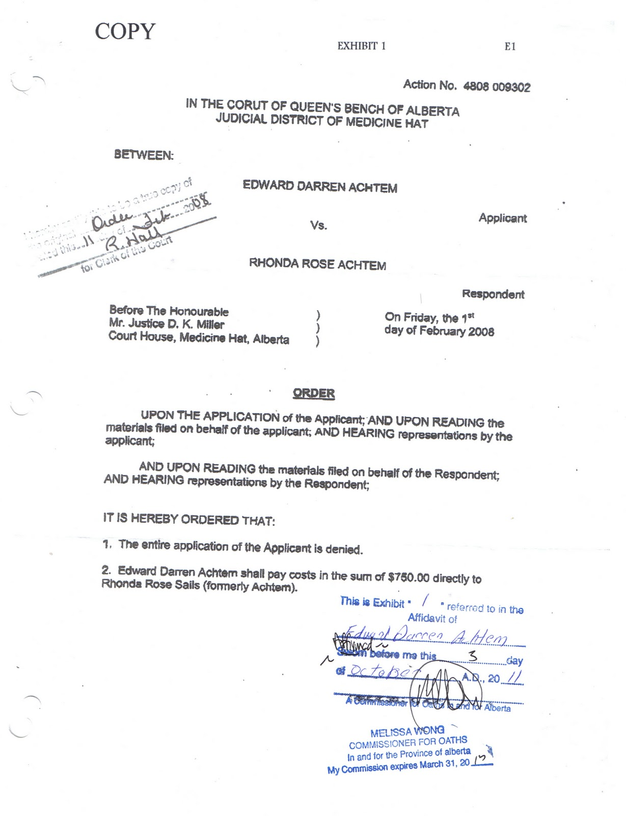 Court order of justice dallas miller aiddatafo Choice Image