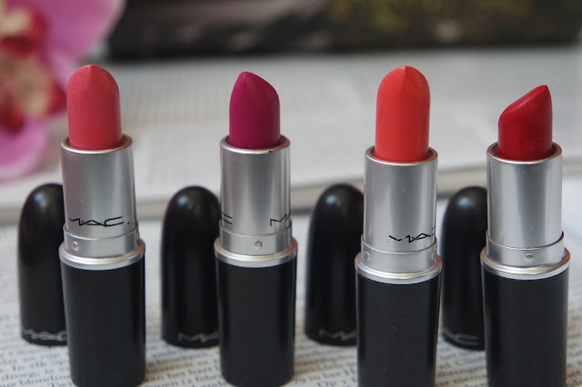 MAC Chatterbox (amplified), flat out fabulous (matte), Vegas Volt (amplified), Ruby Woo (Matte)