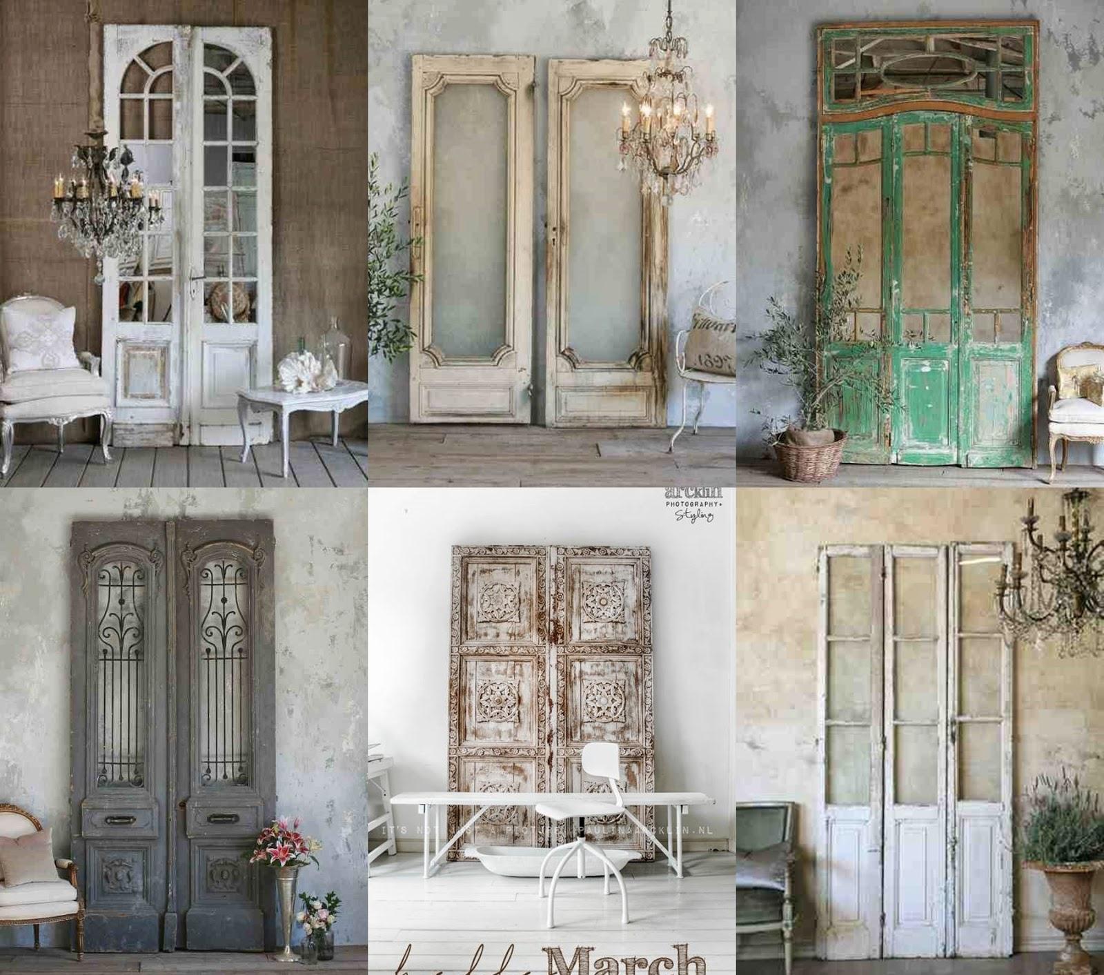 Drzwi vintage oparte o ścianę, inspiracje