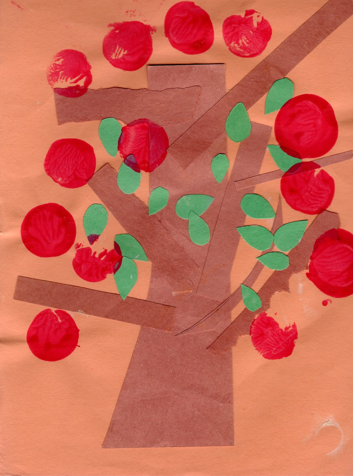 Easy apple tree paper craft preschool education for kids for Simple fall crafts for kids