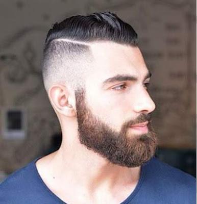 gaya rambut side line pria berjanggut