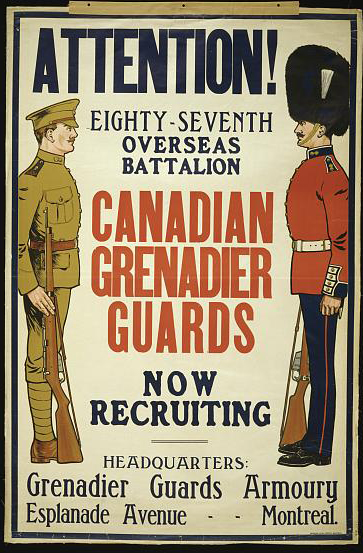 advertising, classic posters, free download, graphic design, military, propaganda, recruitment, retro prints, vintage, vintage posters, war, Attention! Canadian Grenadier Guards, Now Recruiting - Vintage War Military Poster