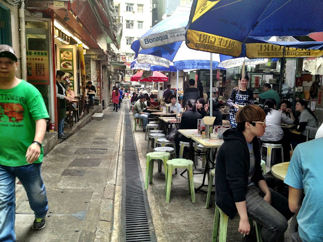 One of the few remaining open street food stall areas in Hong Kong