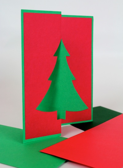 Ashbee design diy christmas cards pierced designs this angle view shows how i cut one half a tree aligned to the middle of the card front i then folded it back on itself by using paper of two different m4hsunfo Image collections