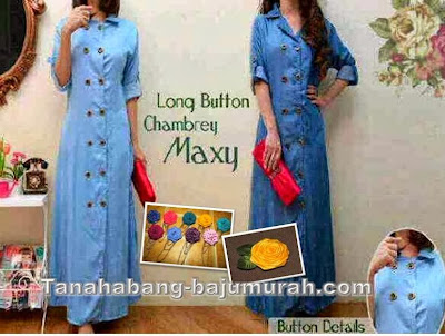 Busana Muslim Bahan Denim Chambray
