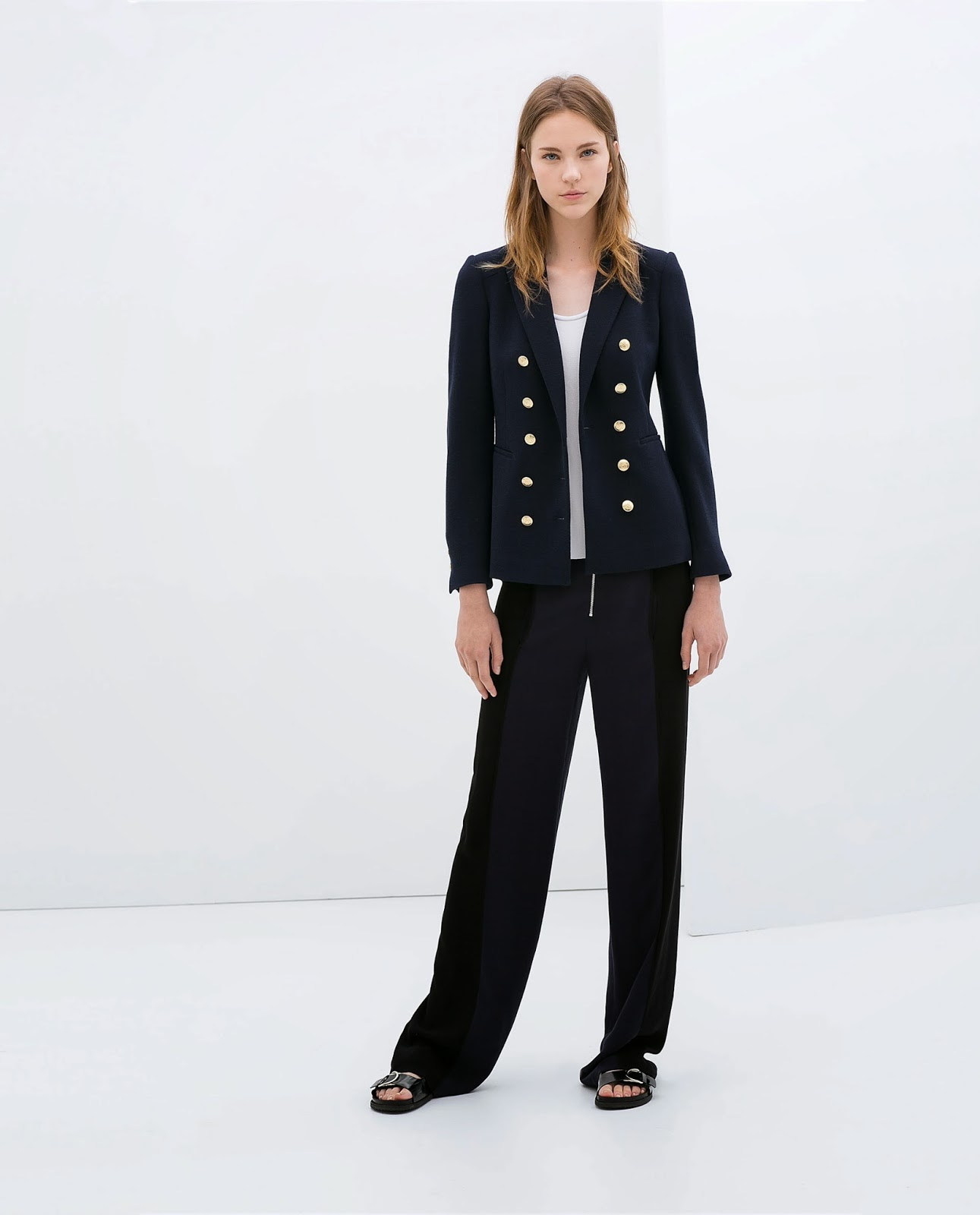 Blazers Zara España: ZARA SOLD OUT. NAVY DOUBLE BREASTED JACKET BLAZER GOLD