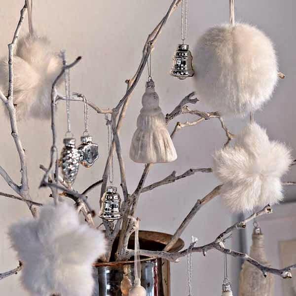 weiße dekorationen wohnzimmer weihnachten baumkugeln kamin