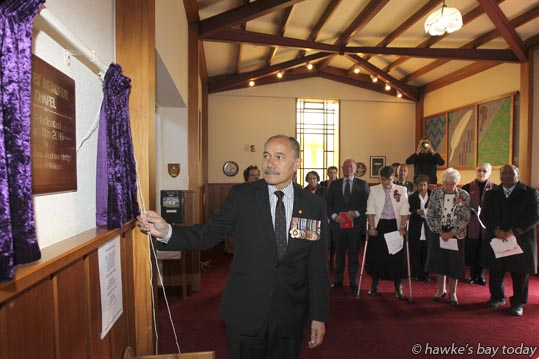 His Excellency Governor General Lt Gen The Rt Hon Sir Jerry Mateparae unveils the plaque - The Hawke's Bay Memorial Chapel was re-dedicated, and the hospital renamed to the Hawke's Bay Fallen Soldier's Memorial Hospital. photograph