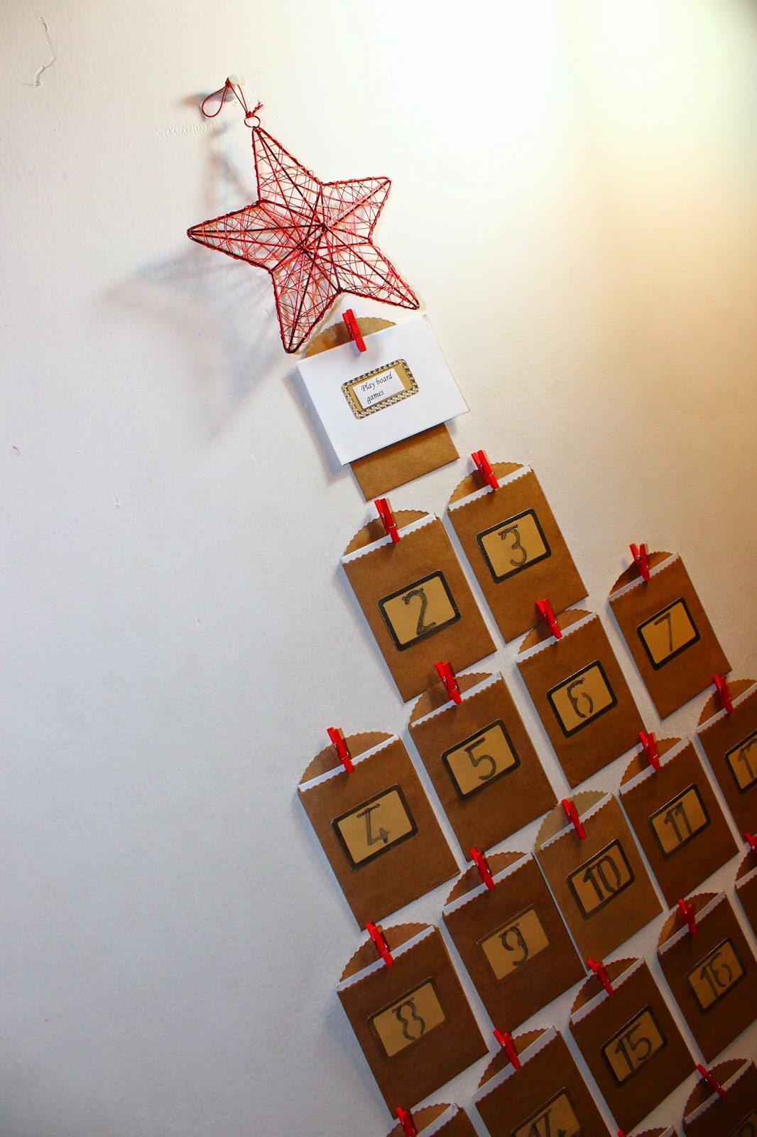 DIY Advent Calender Made With Brown Craft Envelopes