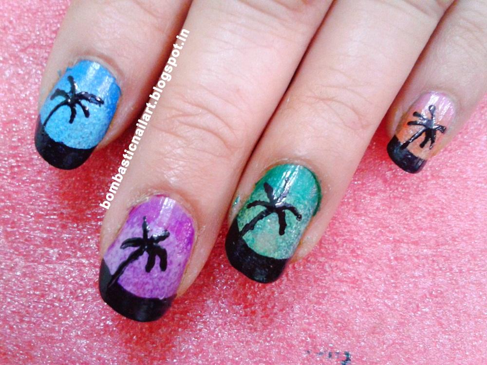 Nail Art Collection: Beautiful Sponge Effect Nail Art Tutorial