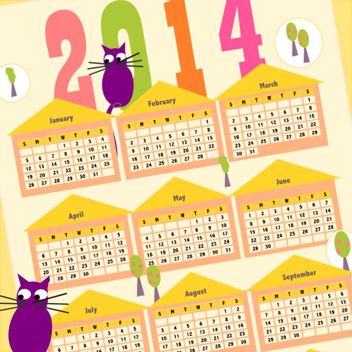 Free printable 2014 funny cat and stickers calendar - ausdruckbarer ...
