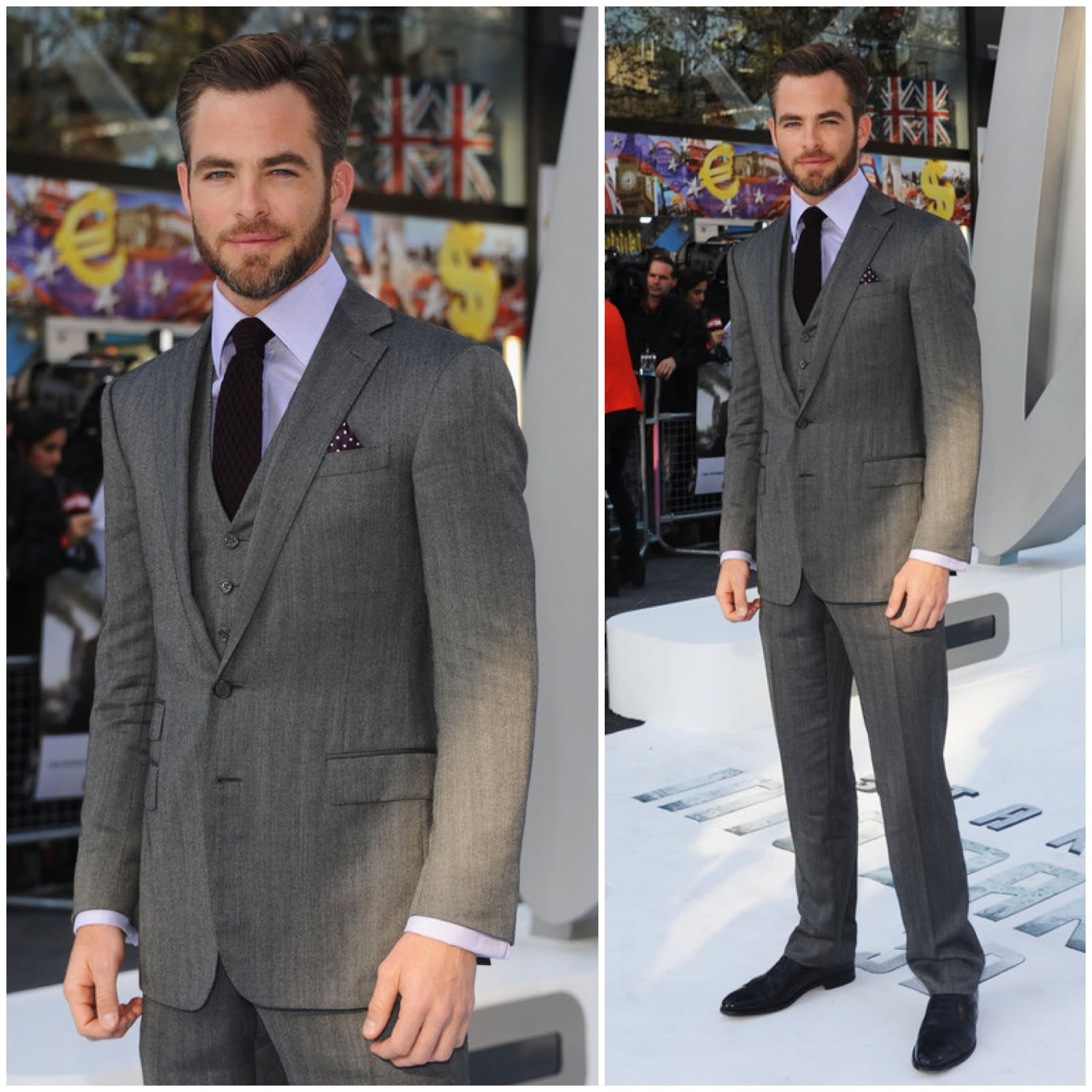 00O00 Menswear Blog: Chris Pine in Ralph Lauren Purple Label made to measure 3 piece suit - 'Star Trek Into Darkness' London premiere May 2013
