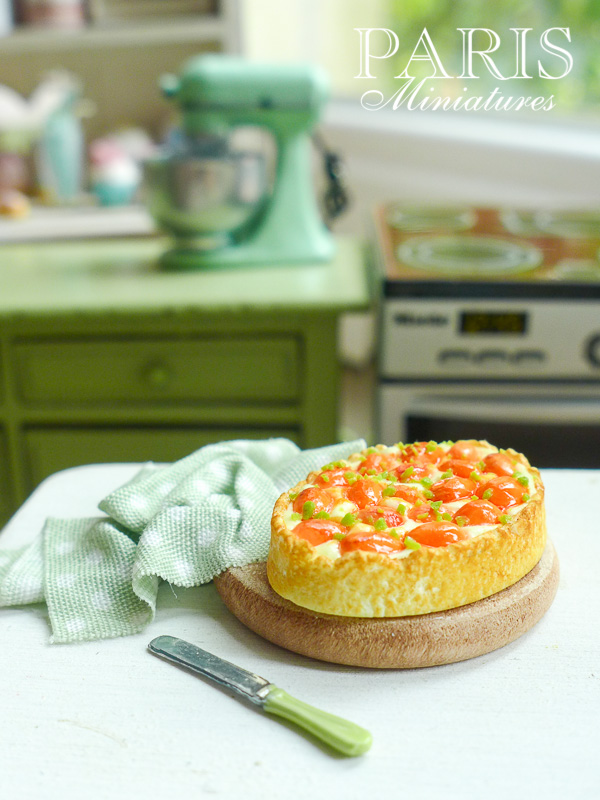Miniature apricot tart in 12th dollhouse scale