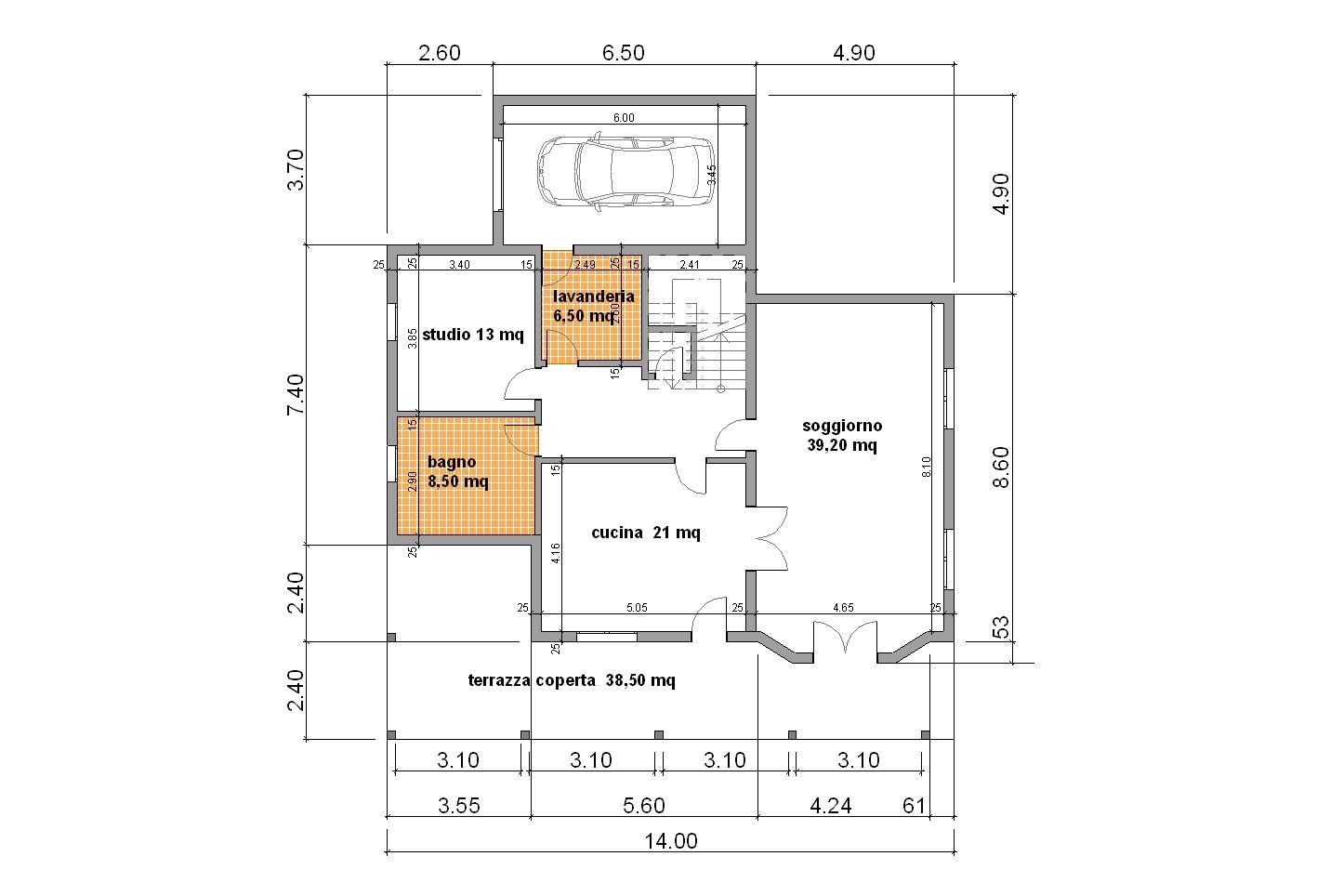 Progetti di case in legno casa 205 mq portico 38 mq for Progetti di portico in mattoni per case