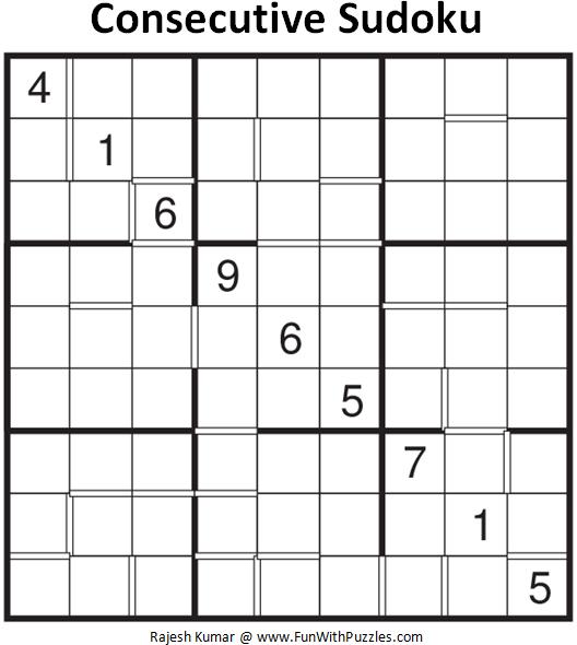 Consecutive Sudoku (Fun With Sudoku #103)