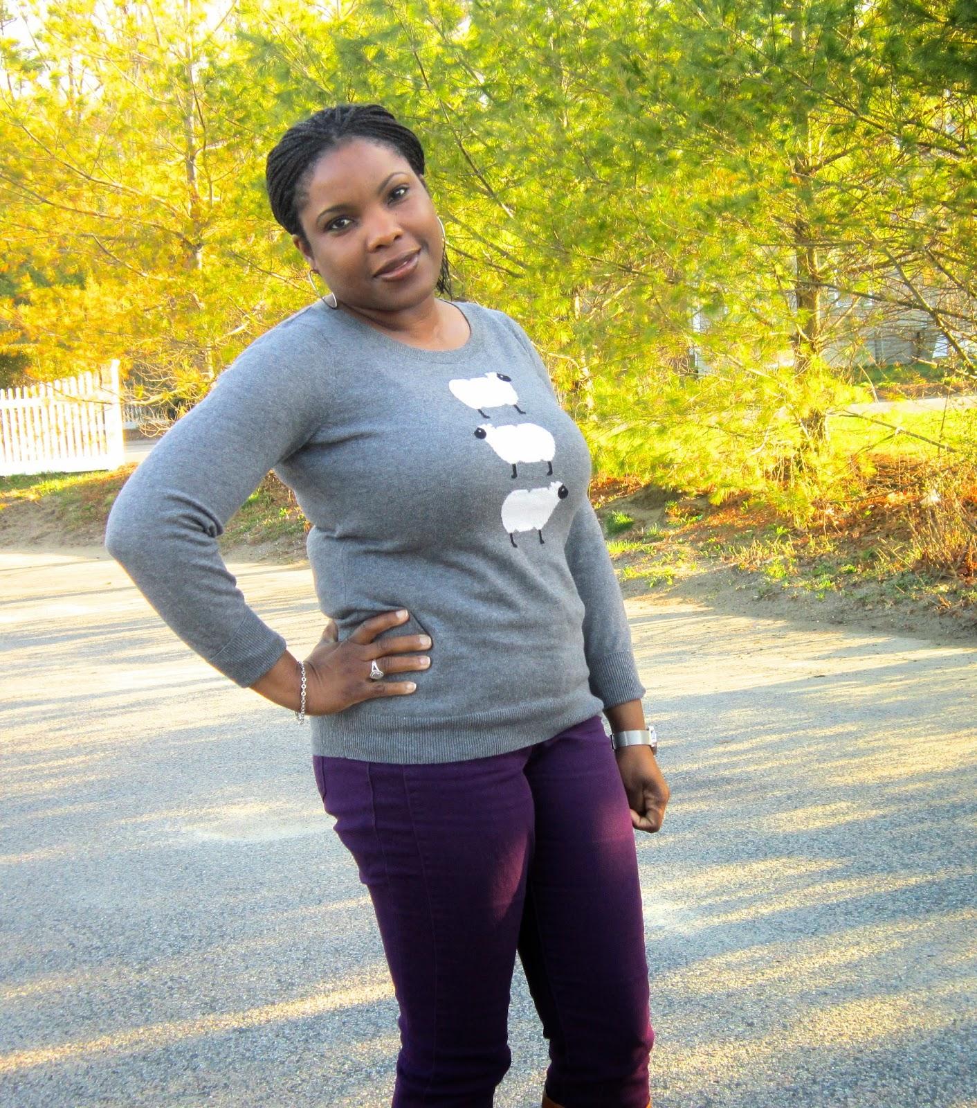 Grey and Purple, Purple skinny jeans