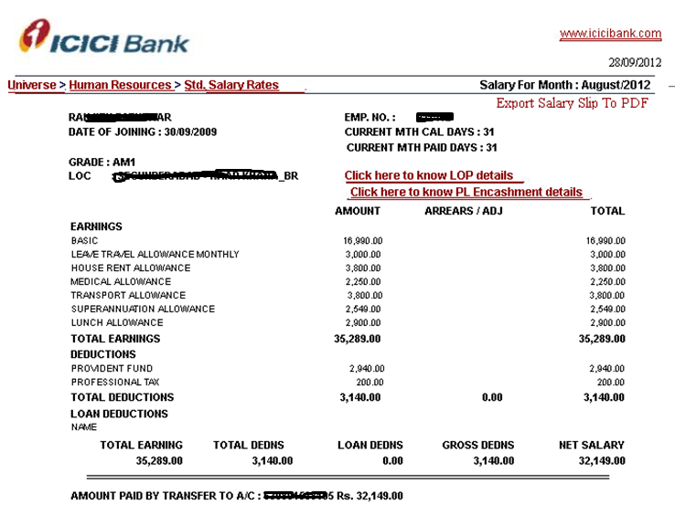 AM I Assistant Manager Band I ICICI Salary Slip Salary Details – Salary Slip