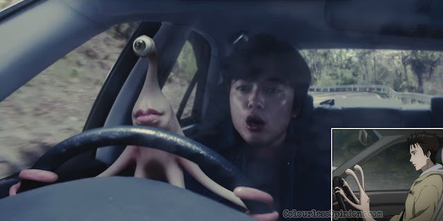 parasyte migi driving live action vs anime