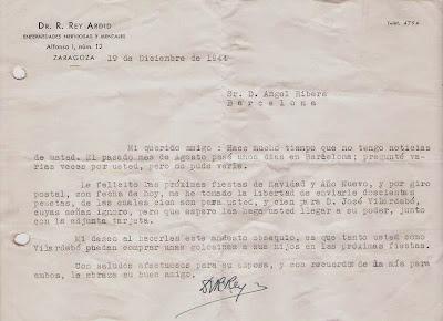Felicitación del Dr. Rey Ardid en 1944