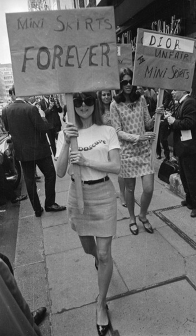Young women protest for their right to wear mini skirts in the 1960s